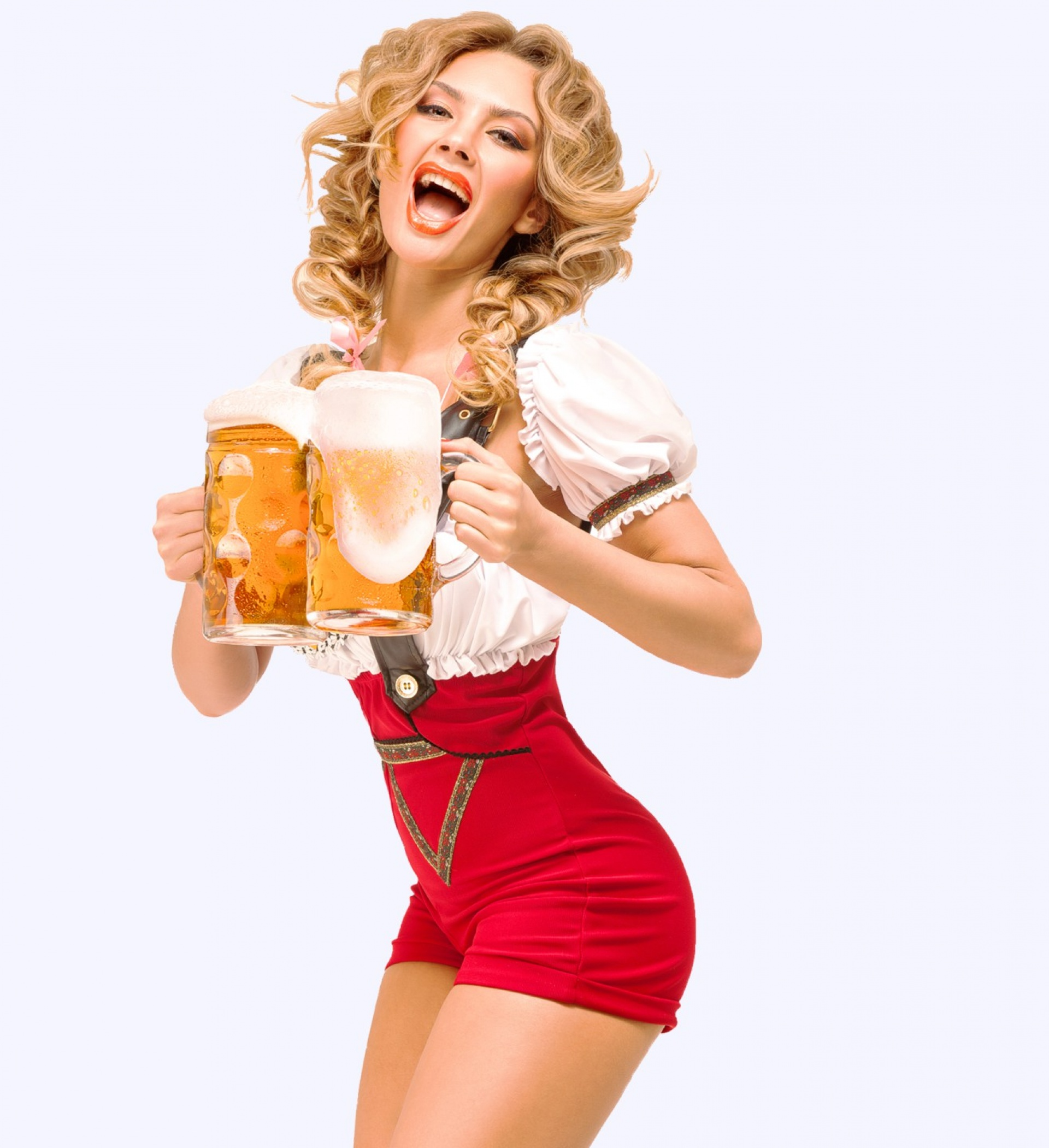 Party girl holding large beers