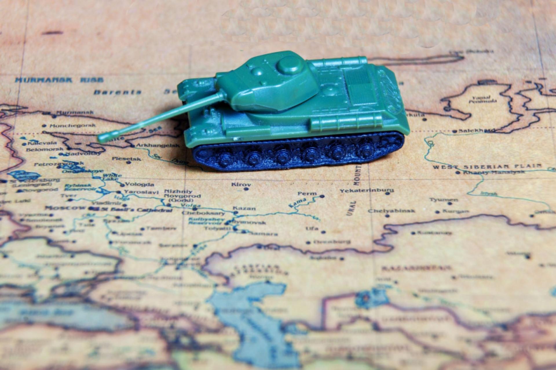 a tank model on a map