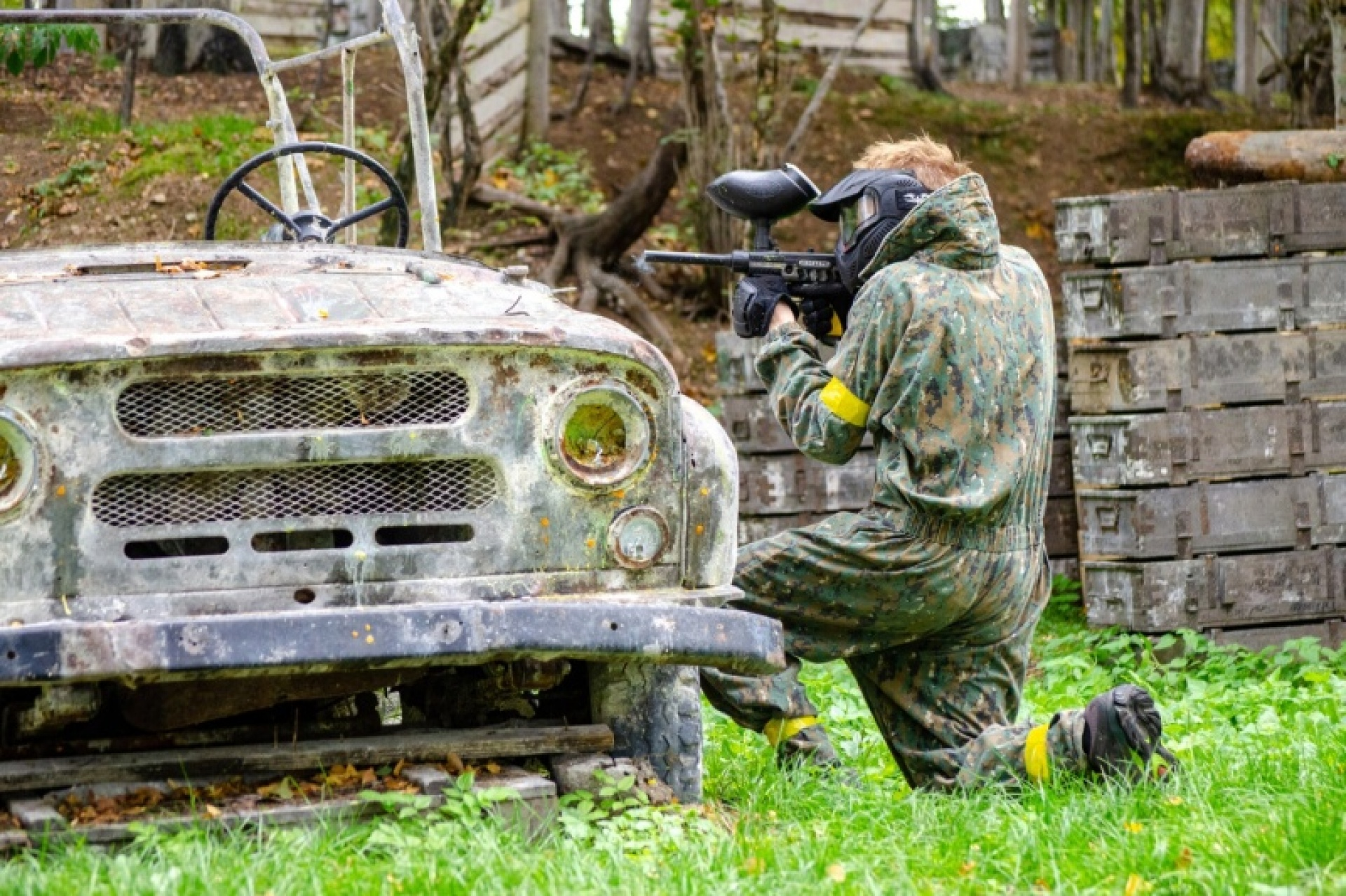 a person playing paintball