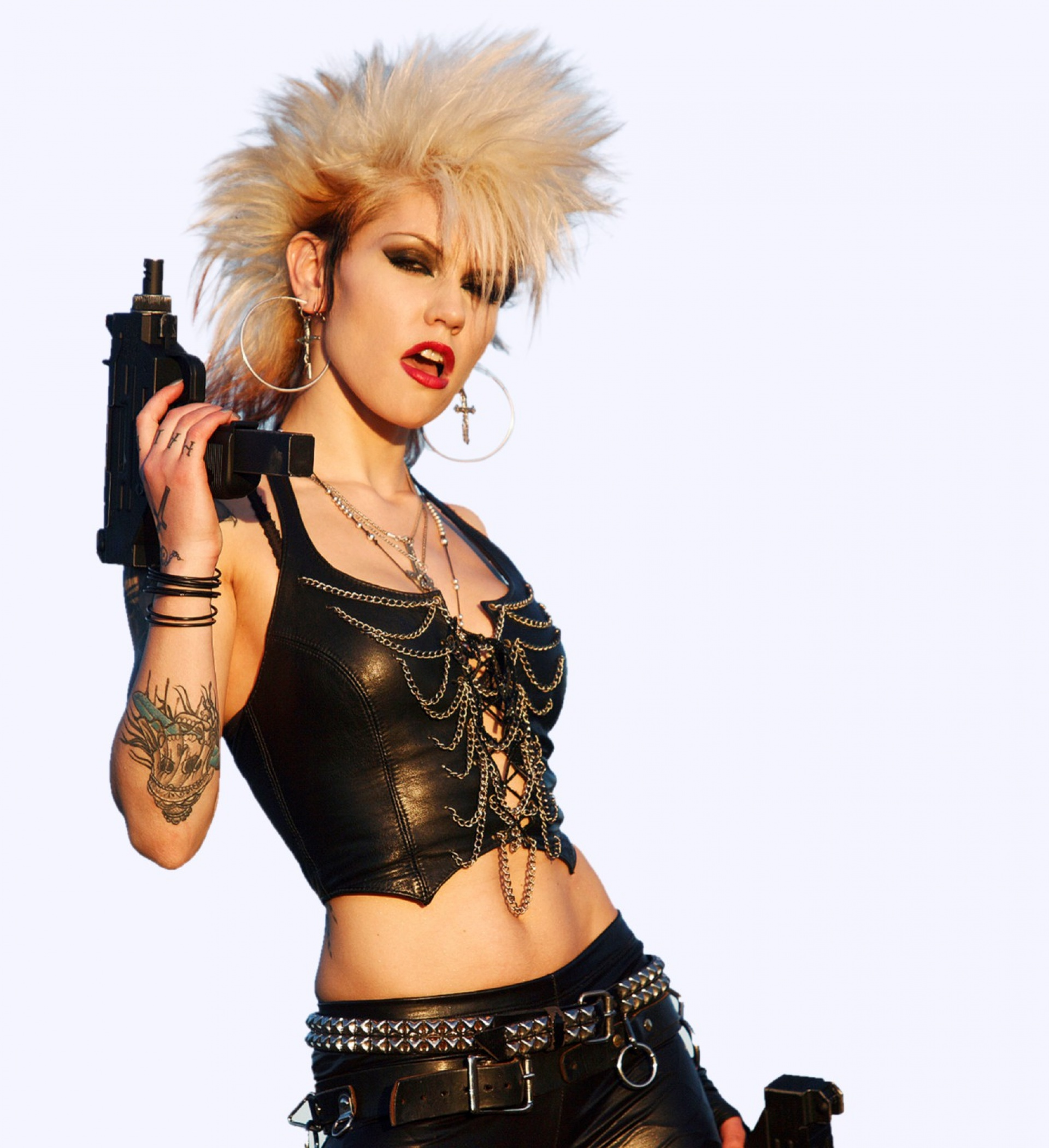 punk girl with machine pistols