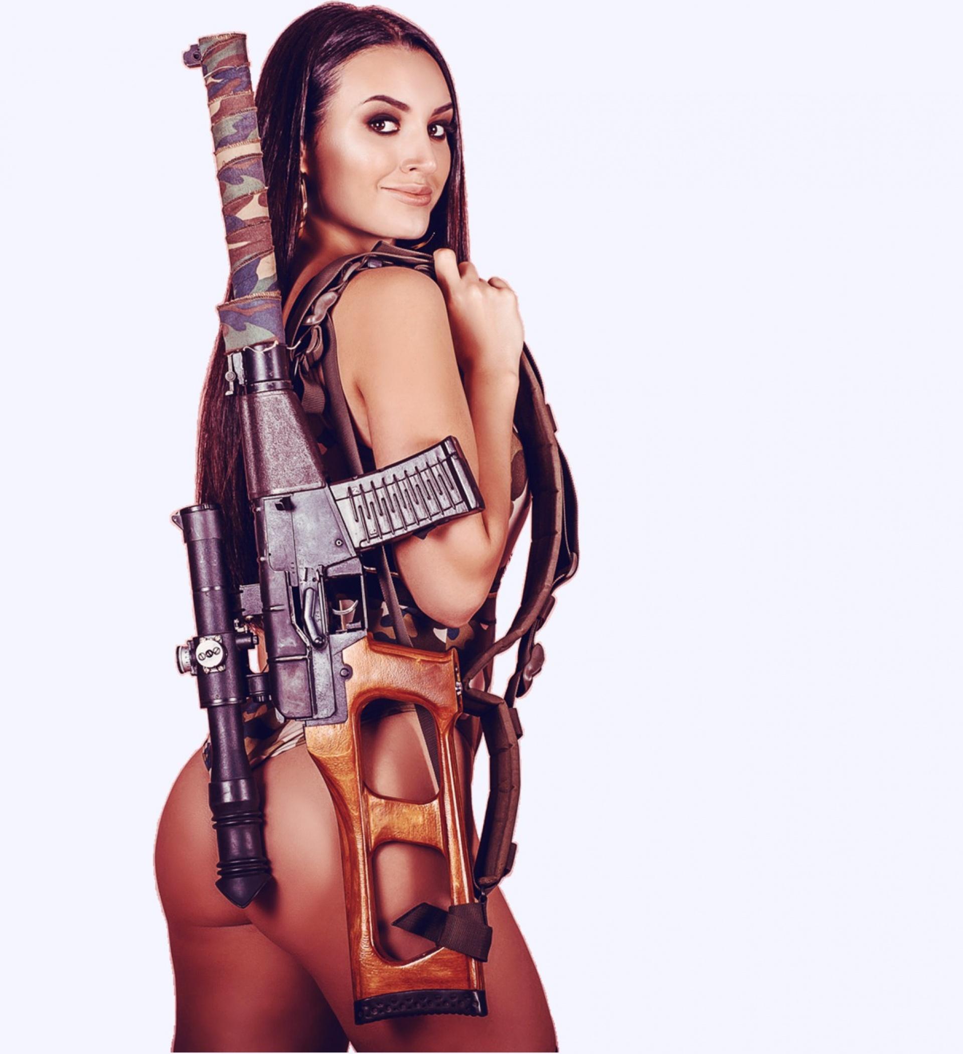 sexy girl with big gun