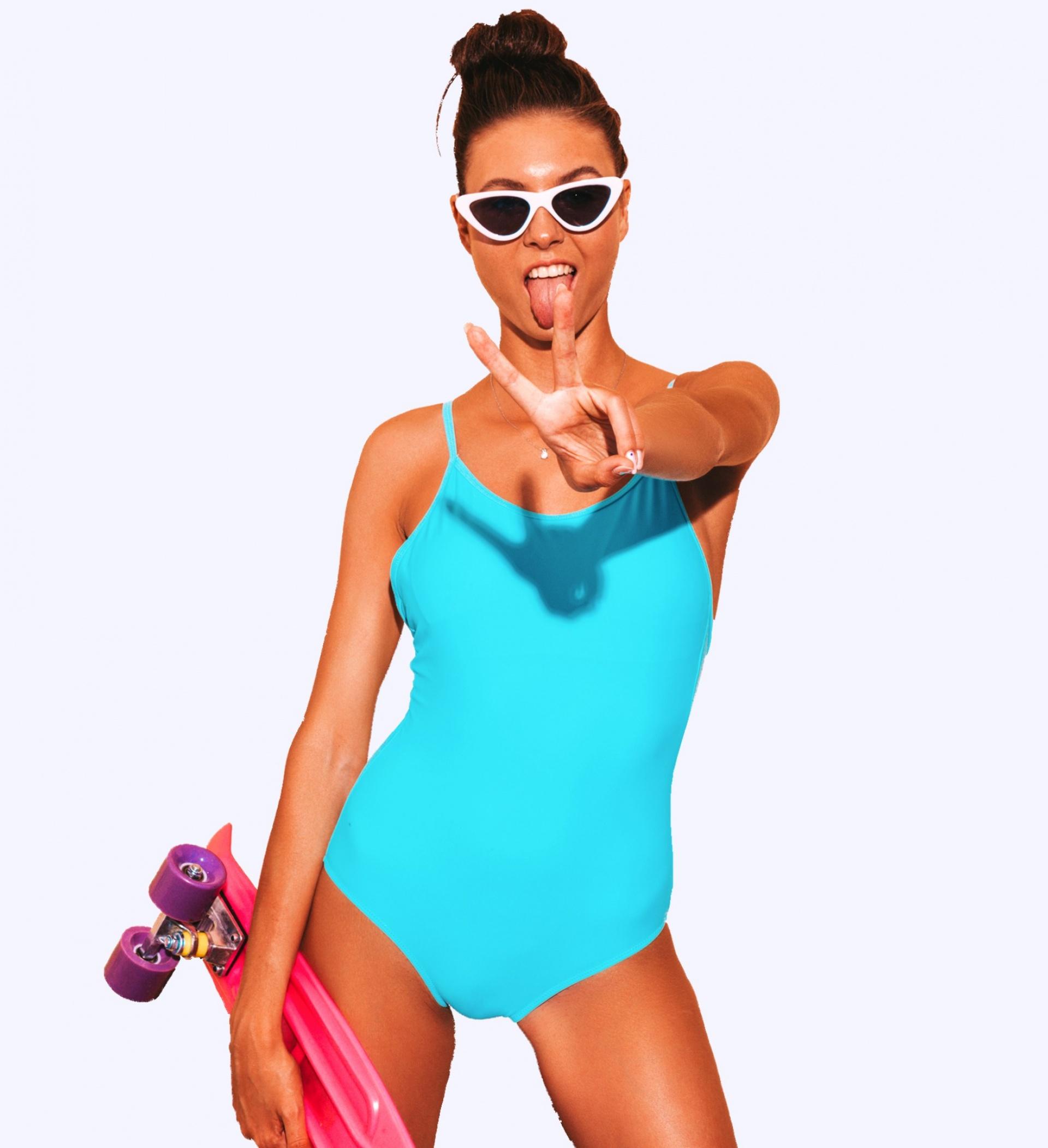 swimwear skater girl peace sign