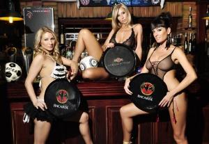 girls in lingerie in sports bar