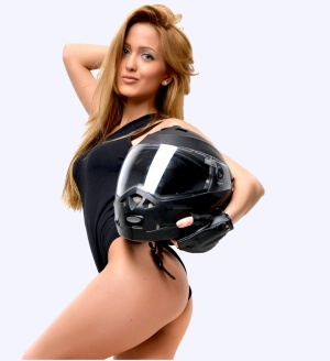 sexy girl with a racer helmet