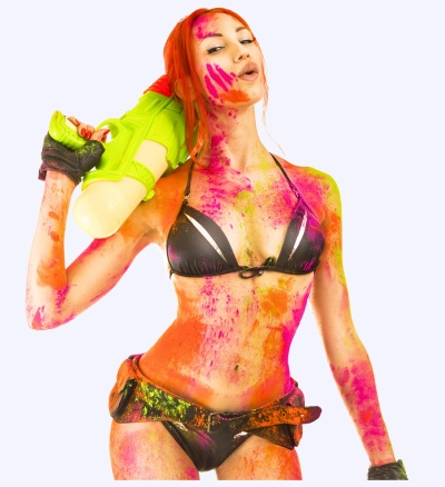 Bikini girl covered in paint