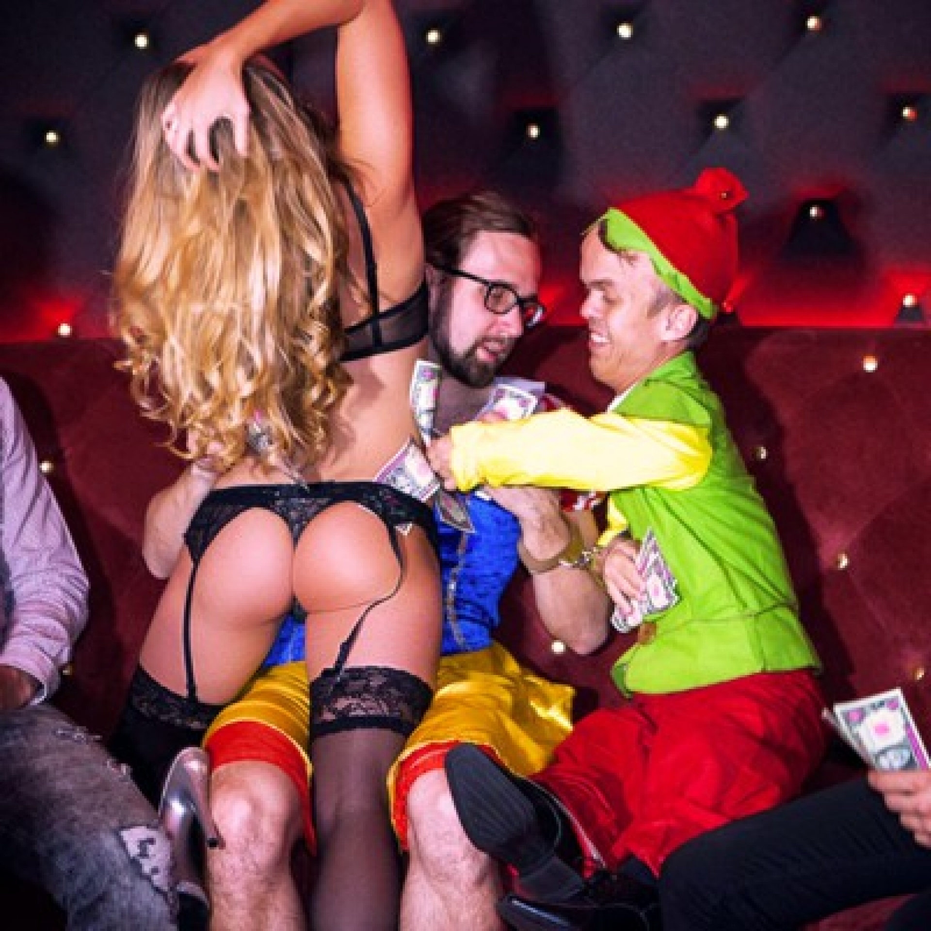 victim with stripper and dwarf prank