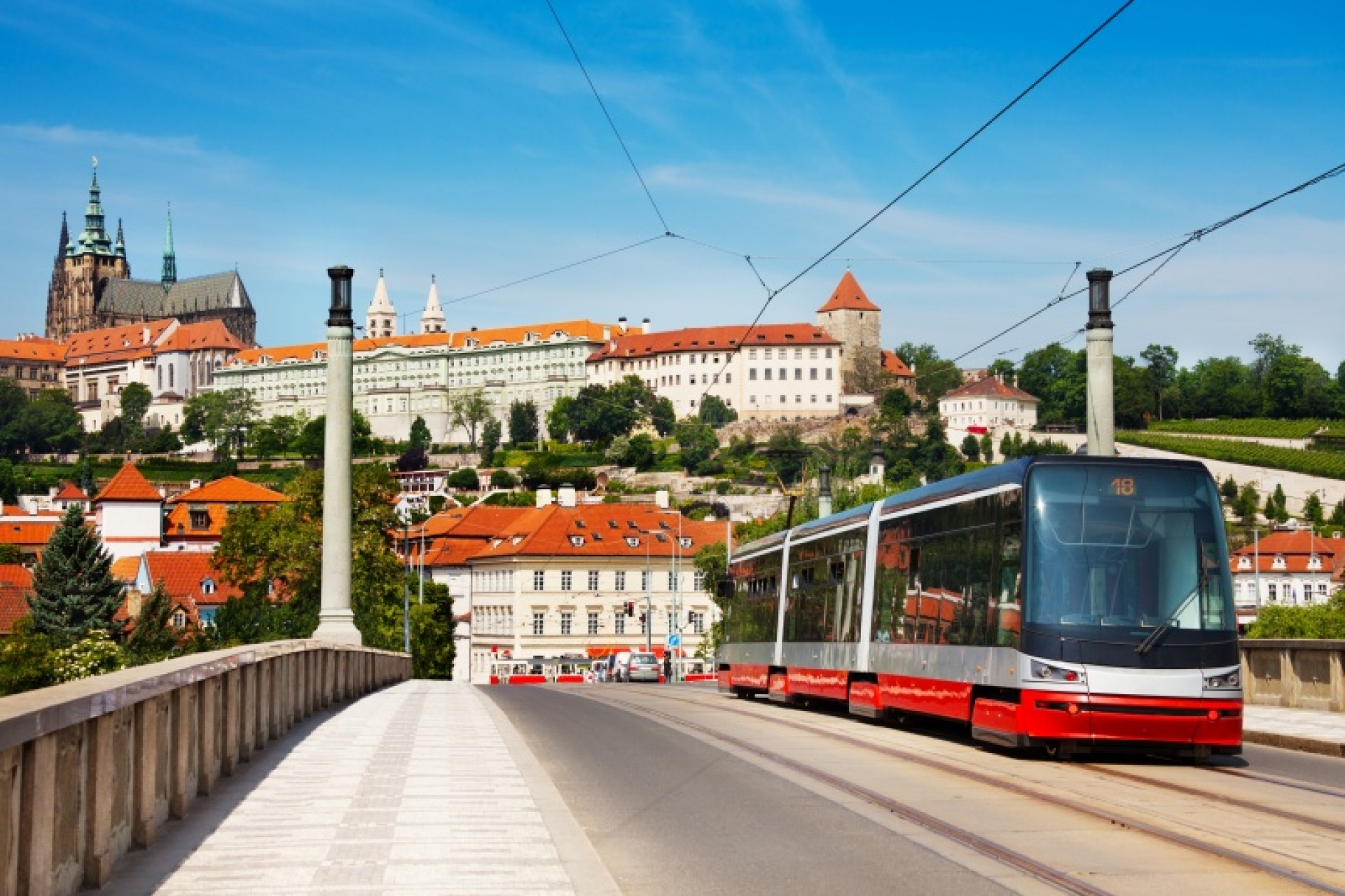 tram and panorama of Prague Castle